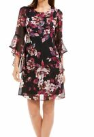 Connected Apparel Women's Dress Black Size 10 Shift Bell Sleeve Floral $79 #073