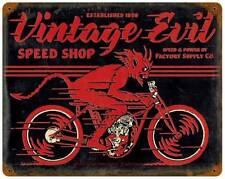 Motorcycle Biker Devil Vintage Evil Metal Sign Man Cave Garage Shop Club FSC007
