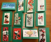 12 Handcrafted Mail Box Christmas Note Cards w/ authentic Vintage Card Front Art