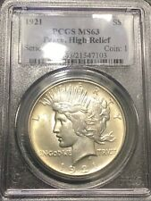 PCGS MS63 1921 PEACE DOLLAR HIGH RELIEF BRIGHT NO SPOTS GREAT EYE APPEAL