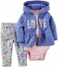 NWT $30 Carters Baby Girls 3pc Love Jacket Blue Newborn NB Outfit Set Flowers