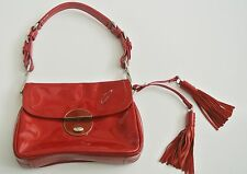 Small Red PRADA Patent Leather Handbag with Tassle, 8 x 6 x 1.5 in, 8 in drop