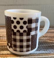 Vintage Milk Glass Patch Work Coffee Cup Mug