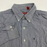 Izod Button Up Shirt Men's Large Long Sleeve White Navy Gingham Casual Cotton