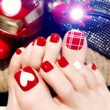 24Pcs Charming Foot False Nail Tips Red Fake Toe Nail Artificial Tips Decoration