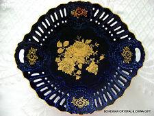 VG CZECH PIRKENHAMMER COBALT BLUE PORCELAIN RETICULATED FLORAL GOLD PLATTER RARE