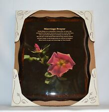 Marriage Prayer Resin Plaque Dark Wood Red Rose Very Good Condition
