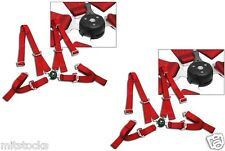 """2 X RED 4 POINT CAMLOCK QUICK RELEASE RACING SEAT BELT HARNESS 2"""" MUSTANG COBRA"""