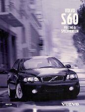 Volvo S60 Specification 2001-02 UK Market Brochure 2.0T 2.4 2.4T T5 D5 S SE