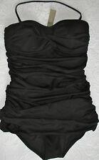 J. Crew 6 Swim suit Skirted twist Bandeau NWT black b5812 $118
