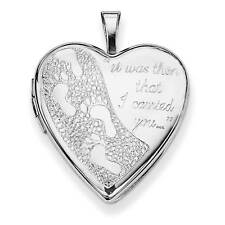 Sterling Silver 20mm Footprints Heart Polished Locket 25mmx20mm