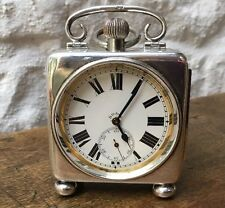 Superb 8 Day Goliath Pocket Watch Silver Carriage Travel Style Case 1920