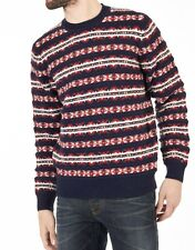 Tommy Hilfiger Harry Fairisle Crew Neck Sweater, Navy, Red and White, Large