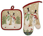 Avanti Christmas Tall Snowmen Cotton 2-Piece Potholder and Oven Mitt Set Holiday photo