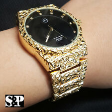 New Mens Luxury Urban Hip Hop Golden Nugget Bling Black Dial Wrist Dress Watch