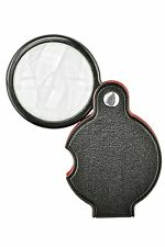 """5X Compact Folding Pocket Magnifier w/ 1-1/2"""" (60mm) Glass Lens & Padded Pouch"""