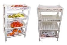 Cream Multi purpose 4 Tier Plastic Vegetable Fruit Storage Shelves Rack UK