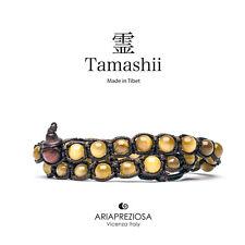 AUTENTICO TAMASHII BRACCIALE TIBET OCCHIO DI TIGRE 2 Giri - Monaci Tibetani