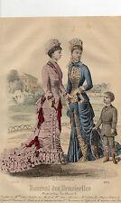 """27/ GRAVURE DE MODE """"  JOURNAL des DEMOISELLES """" 1879 SUPERBES COULEURS !"""