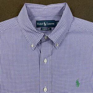 Mens Polo RALPH LAUREN Purple Plaid Poplin Button Down Shirt Large