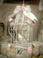 Beautiful Shabby Cottage Chic Victorian Bird Cage Christmas Ornament Pink Roses