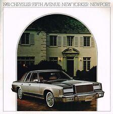 1981 CHRYSLER 5th QUINTA AVENIDA/Newport/NEW YORKER FOLLETO CON / color CHART