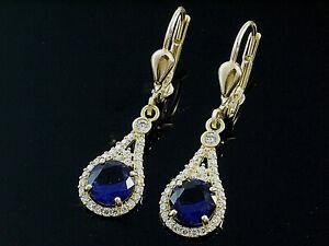 585 Gold Ohrringe mit  Saphir 6mm Größe  29mm Länge  1 Paar mit Brisur