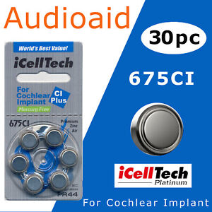30pc iCellTech Size 675P, 675 Cochlear Implant Hearing Aid Batteries EX:2024