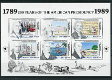 Dominica 1989 MNH American Presidency Washington Jefferson Adams 6v M/S Stamps