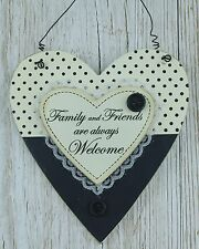 Heart Plaque Family & Friends Always Welcome Black Sign 23cm Gift F0616