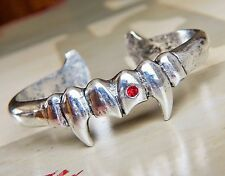 Urban Gothic Vampire / Dracula Silver Bracelet with Red Crystal Blood Drop Bling