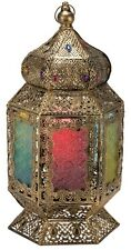 LARGE Antique Bronze Moroccan Lantern Metal Table Lamp NEW Jewels Coloured Glass