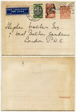 NETHERLANDS AIRMAIL STATIONERY LETTERCARD UPRATED to GB 1937