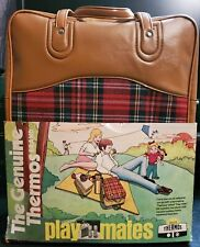 """Thermos Brand Red Plaid Picnic Set W/ Thermos-Sandwich Holder 14"""" Bag New"""