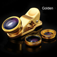 Universal 3 in 1 Clip On Camera Lens Kit Wide Angle Fish Eye Macro Smart Phone
