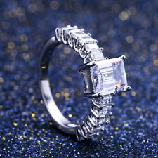 Pretty Princess Cut White Sapphire Wedding Ring 925 Silver Rings for Women Sz 9