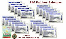 240 Sealed SALONPAS PATCHES - Sport Muscle Pain Relieving Aches + FREE BALM