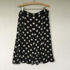 Jones New York Collection Polka Dot Skirt Black White 100% Silk  Size 14