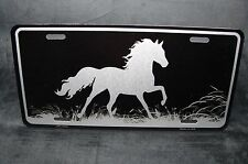HORSE BLACK BRUSHED METAL NOVELTY LICENSE PLATE TAG FOR CARS