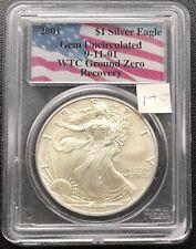 2001 Silver Eagle One Dollar 1 oz PCGS UNC WTC 9/11 Ground Zero Recovery #4091