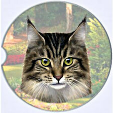 E&S Pets Absorbent Car Coaster Dog Breed Stoneware Maine Coon Cat Kitty Kittie