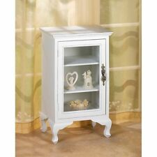 SIMPLY WHITE 3 SHELF STORAGE CABINET GLASS DOOR CHIC SHABBY ELEGANCE~D1148