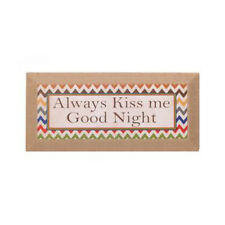 Word Sign Quote Sign Wall Decor Quote Wood Burlap ALWAYS KISS ME GOODNIGHT