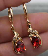 18K Yellow Gold Filled - Swirl Ruby Topaz Zircon Women Hoop Gemstone Earrings