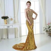 Rhinestone Women SEQUIN Mermaid Evening Dresses Backless Pageant Prom Party