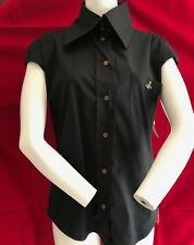 a499143136 BNWT VIVIENNE WESTWOOD 2 Button Collar Black Sleeveless Top Size 40 RRP £245