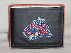 COLUMBUS BLUE JACKETS embroidered Leather BiFold Wallet   Original Primary logo