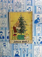 RARE * HERGE * CARTE NEIGE N°6 * TINTIN DECORE UN SAPIN DE NOEL * 1942/1943