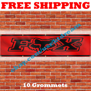 Fox Racing Flag Banner 2x8ft 240X60cm Garage Man Cave Large Banner Wall Decor
