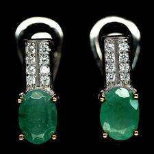 13x6 mm. 925 Sterling Silber Ohrringe Weißgold beschichtet, Smaragd & CZ, Neu